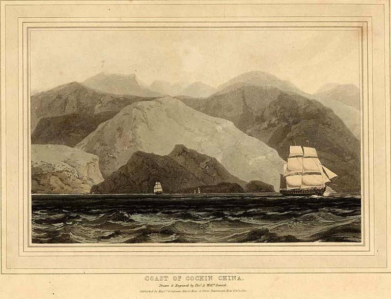 Hình minh họa bờ biển xứ Nam Hà từ sách
