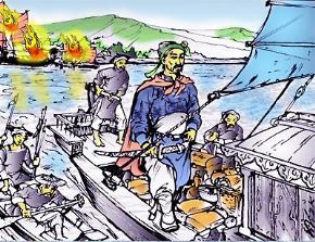 Trận Vân Đồn trên Vịnh Hạ Long: Trần Khánh Dư cướp được thuyền lương địch làm giặc Nguyên lo sợ nhốn nháo.