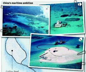 Trung Quốc không ngừng đe dọa các bãi đá của Trường Sa, từ bãi đá Cô Lin đến Gạc Ma và nay là bãi Chữ Thập. Nguồn: SCMP