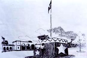 Bản vẽ Lễ đài độc lập trên Quảng trường Ba Đình ngày 2/9/1945 do KTS Ngô Huỳnh Quỳnh thiết kế