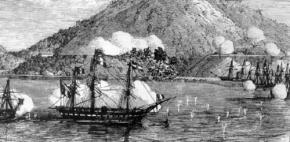 Tàu chiến Pháp bắn phá Đà Nẵng. (Ảnh từ wikipedia.org)