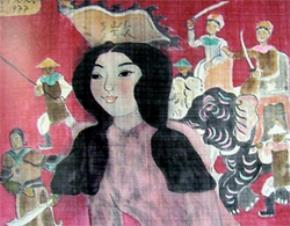 """(""""Hai Bà Trưng"""" –tranh lụa của Nguyễn Sáng (1977))"""