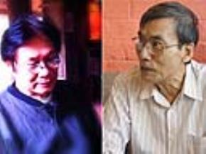 Nhạc sĩ DươngThụ (trái) và TS Nguyễn Văn Trọng