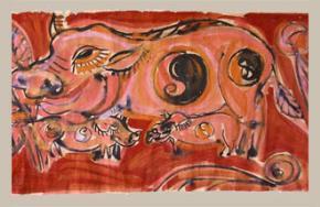 """Bức tranh lợn trong bộ tranh """"12 con Giáp"""" (Phan Cẩm Thượng)"""