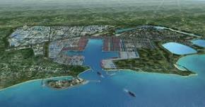 Mô hình cảng biển Hambantota của Sri Lanka (Ảnh: Twitter)