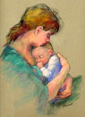 """Tranh """"Mẹ và con"""" của  Junko Ono Rothwell"""