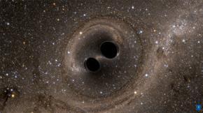 Hình ảnh mô tả 2 lỗ đen va chạm vào nhau.