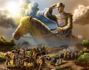 Tranh miêu tả chúa Nguyễn Hoàng cùng dân di cư xuống miền Nam (họa sĩ Vivi)