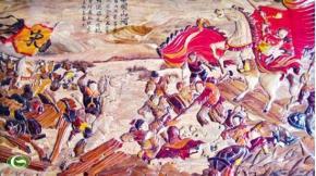 Bức tranh trận đánh quân Tống bên bến Như Nguyệt