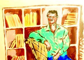 Nhà văn. Tranh minh họa: Huỳnh Ty