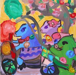 """Tranh sơn dầu """"Gia đình lợn đi chơi xuân"""""""