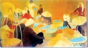 Cảnh phố chợ Đông Dương, tranh của Nhất Linh  - Nguyễn Tường Tam