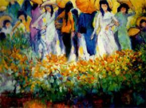 """Tranh sơn dầu """"Chợ Hoa"""", Võ Hoài Nam"""