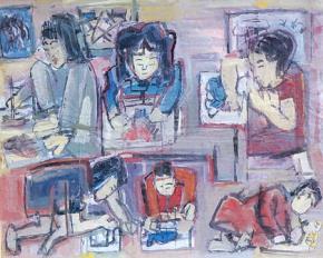 """Tranh bột màu """"Trẻ em chơi"""" của Nguyễn Tư Nghiêm (Do Bá Hân chụp tại phòng tranh của Trần Hậu Tuấn)"""