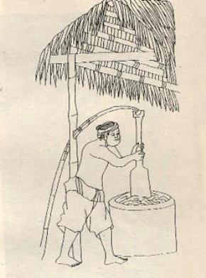 Giã lá dó làm giấy. Tranh khắc của H.Oger