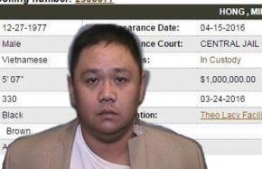 Hình ảnh của Minh Béo và thông tin tạm giam cùng số tiền bảo lãnh trên website của Sở cảnh sát quận Cam, California (Mỹ)