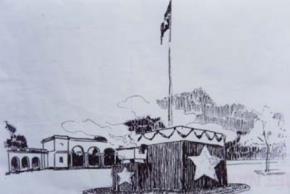 Bản thiết kế lễ đài độc lập dựng giữa quảng trường Ba Đình, có công rất lớn của nhà tổ chức Nguyễn Hữu Đang.