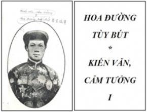 Bìa quyển vở học trò - trong đó Phạm Quỳnh viết Hoa Đường tùy bút - Kiến văn cảm tưởng I
