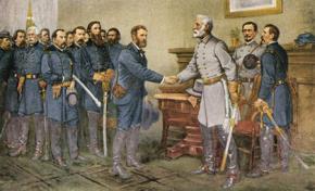 Ngày 9 tháng 4 năm 1865, tướng Lee buộc phải đầu hàng tướng Grant, kết thúc cuộc Nội chiến Hoa kỳ (1861–1865)