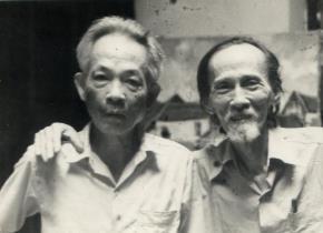 Họa sĩ Dương Bích Liên và họa sĩ Bùi Xuân Phái_Ảnh chụp năm 1984