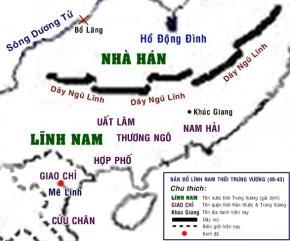 Bản đồ Lĩnh Nam thời Trưng vương (40-43)