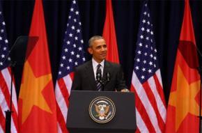 Obama đang phát biểu. Ảnh: Thanh Niên