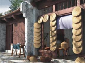 Một gian hàng ở 36 phố cổ Hà Nội xưa. Hình ảnh được tái tạo bằng kỹ thuật 3D. Ảnh: internet