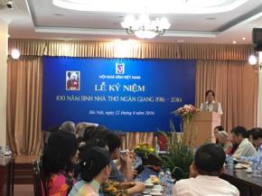 Lễ kỷ niệm 100 năm ngày sinh Nữ sĩ Ngân Giang
